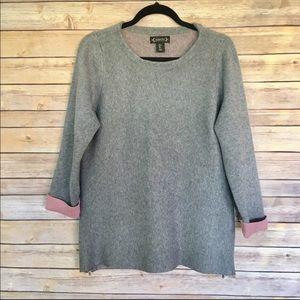 Nannette Lepore Gray Side Zip Wool Sweater